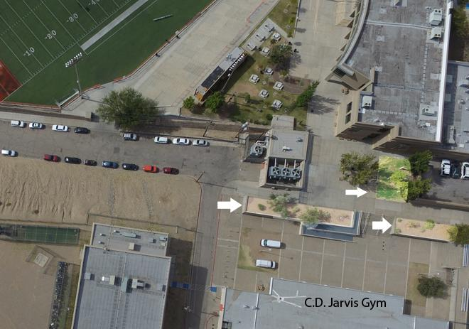 The community garden will be located next to the cafeteria and in front of the C.D. Jarvis gymnasium.