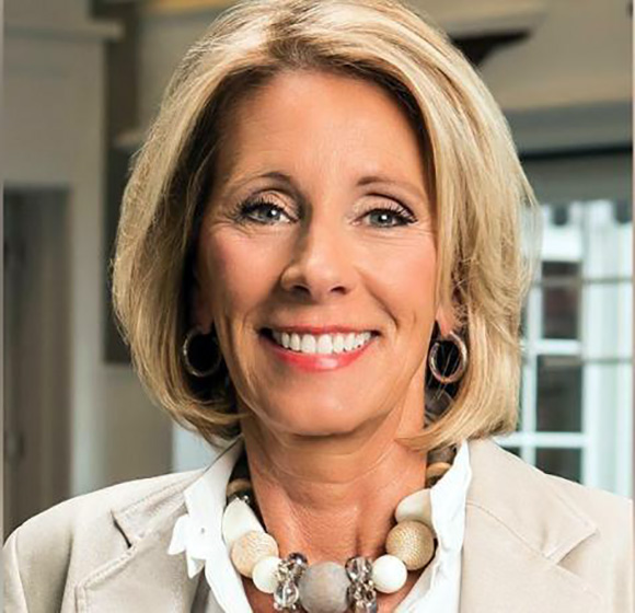 Secretary of Education, Betsy DeVos. Photo courtesy of the Associated Press