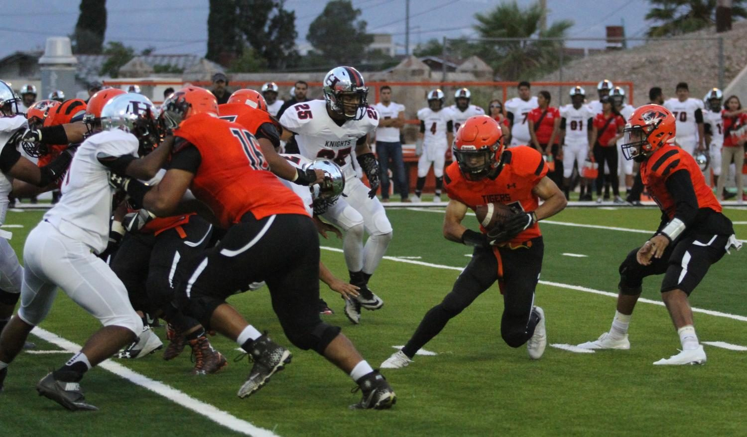 Running back, Shane Rodriguez, takes a hand off from Anthony Escobedo in the 36-28 loss to Hanks.