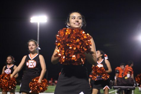 Freshman, Mariana Retana, cheers during a football game of the 2017 season.