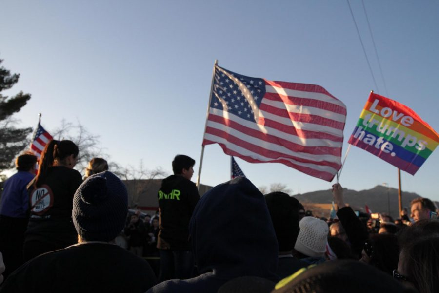 Approximately 7,000 people marched from Bowie High School to the Chalio Acosta Sports Center just a few feet away from where President Trump held a 'Finish The Wall' rally.