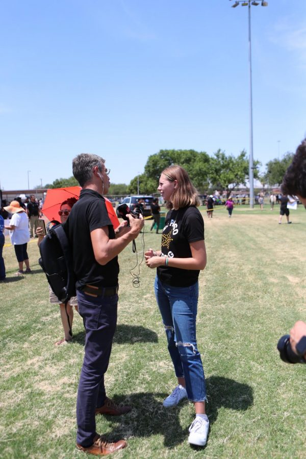 El Paso High senior, Anneliese Huenneke, was interviewed by a Swedish radio station on Aug. 8 at a rally held in Washington Park in central El Paso. President Trump was visiting the injured victims at University Medical Center less than a mile away from the rally.