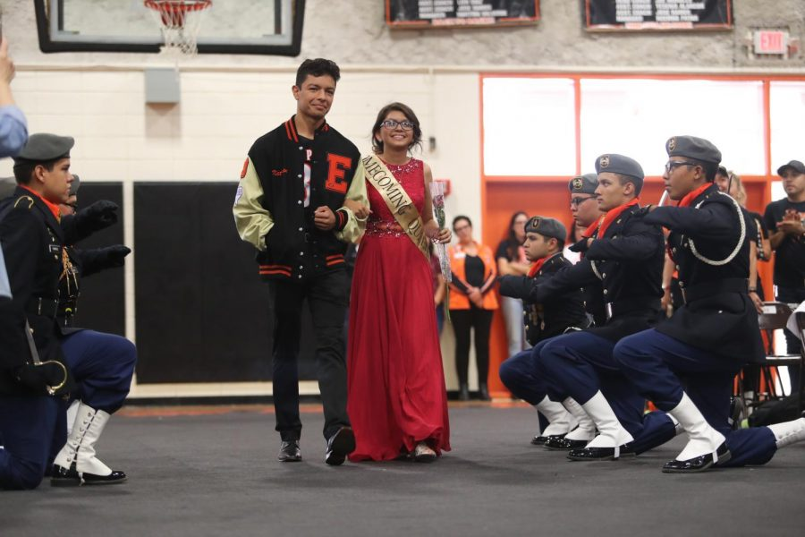 2019 Homecoming Queen, Odyssey Mann, is escorted by Nathan Vargas during the homecoming assembly on Oct. 4.