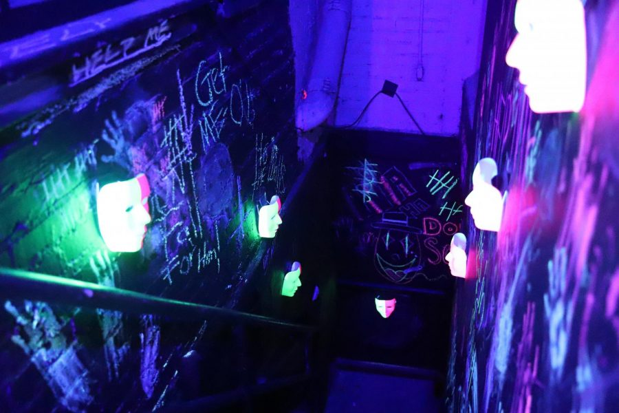 The Tiger theatre troupe hosted a haunted house tour on Halloween night. Here is the entrance that led to a maze where actors would await visitors for the scare.