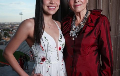 2020 Spring Fiesta Queen, Mackenzie Tovar (left), with her grandmother, Elena Tovar (Ruiz). Elena was named El Paso High School Spring Fiesta Queen in 1964.