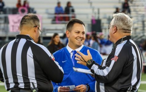 Newly appointed head football coach (middle) Ray Aguilar spent the past two season at San Elizario High School where he led the Eagles to consecutive playoff appearances.