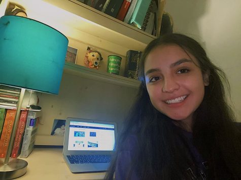 Sophomore Paula Chavez finishes her ONRAMPS Algebra 2 class during week one of distance learning.