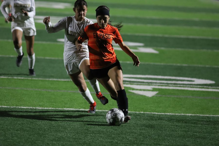 Forward Brianna Galvan charges upfield against arch rival Austin on Feb. 9. The Tigers defeated the Panthers 3-0.  Brianna scored 33 goals for the Tigers in 2021.