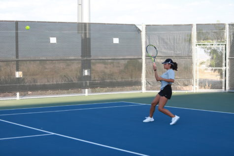 Senior Kandace Bargeron with the forehand swing against Irvin on Sept. 17.