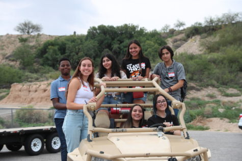 Left to right: Sophomores Paul Ereng, Sofia Reese, senior Kalista Fong, Patrizia Ruiz, Diego, bottom Jezabelle Meraz, Mia Orona take part of their first in-person student orientaion and second overall after the first was done virtually via Zoom in the summer of 2020.