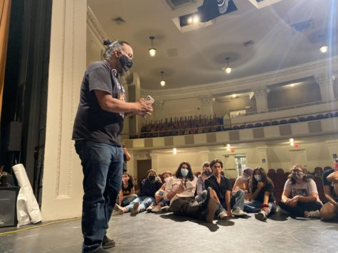 Mr. Jacob Rodriguez speaks to his theater students before rehearsal. Rodriguez has been lauded for his energy and enthusiasm.